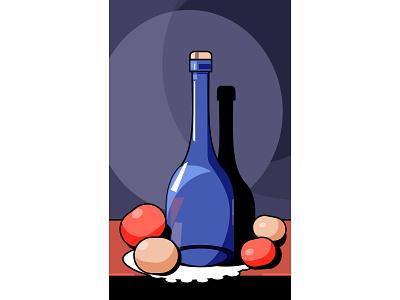 Glass and Oranges бытылка фрукты апельсин стекло натюморт illustration vector