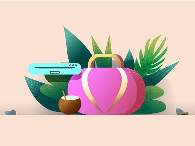 Vacation Bag отпуск листья путешествие кокос сумка vector illustration