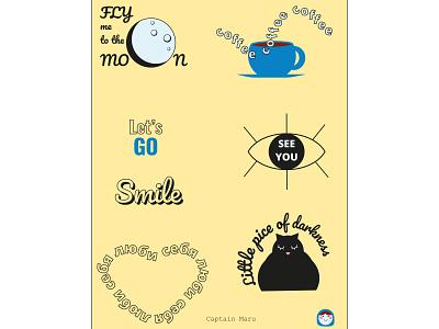 Stickers значки наклейки стикерпак стикеры logo design vector illustration