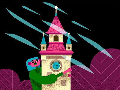 Girl and the Tower ветер вечер башня персонаж design девушка vector illustration