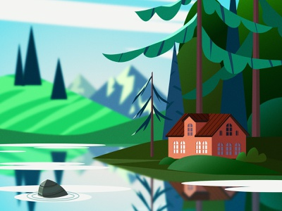 Day at the Lake небо горы природа домик день лето озеро лес пейзаж vector illustration