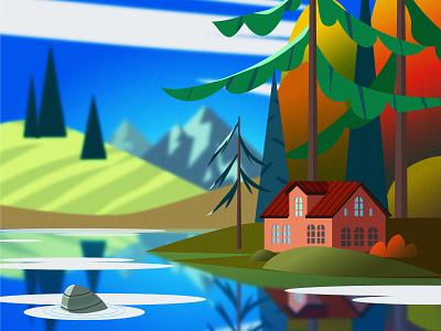 Fall by the Lake горы домик природа пейзаж озеро небо деревья лес осень vector illustration