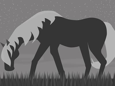 Night небо vector лошадь illustration