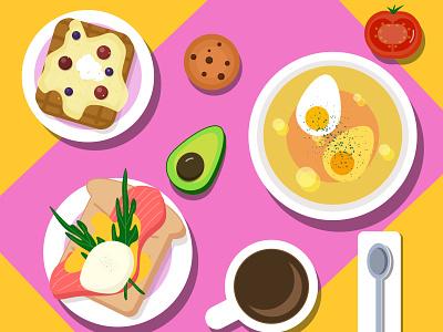 breakfast кофе суп завтрак яйца еда logo design vector illustration