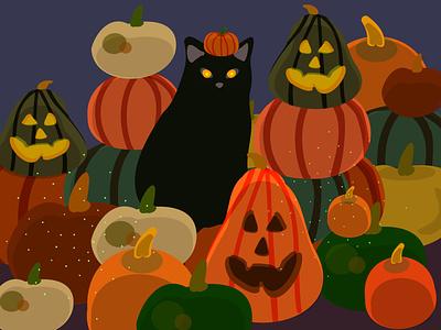 Halloween cat black party fall spooky halloween cat pumpkin logo design vector illustration