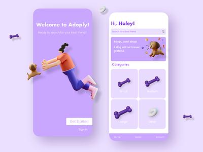 Dog Adoption App 3d bone pet adoption dog app design uidesign ui app design