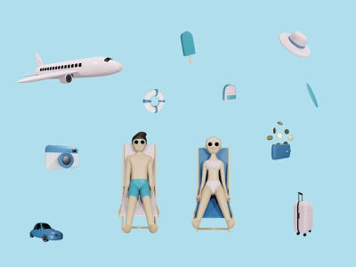 3D Vacation Pack collection beach backpack wallet money surfboard hat suitcase ice cream camera car airplane sunbathe character vacation holiday blender 3d illustrations 3d design 3d