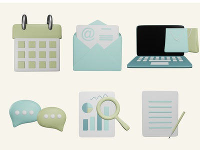 3D icons 3d icons iconset calendar email magnifying glass communication chat document research data chart shopping bag shopping laptop icons blender 3d design
