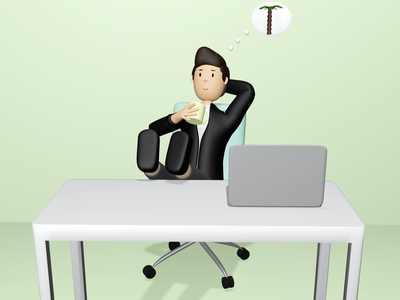 3D dreaming worker job work business man relaxed vacation palm dream cup chair desk 3d character blender 3d art design 3d worker laptop