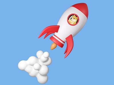 Doge rocket blender doge dogecoin moon space rocket 3d illustration 3d icon 3d