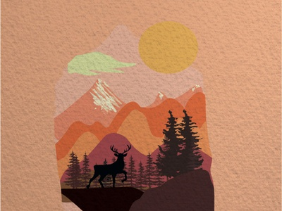 Deer,Landscape Illustration self taught adobe illustrator illustration art illustration design
