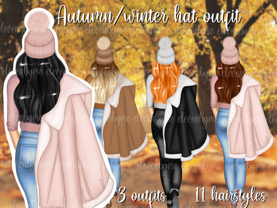 013040FA 8748 4554 9F75 DC524B14AB3A hat outfit autum winter girl flat procreate illustration