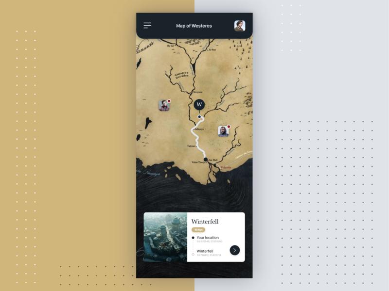 Arya's app mobile location app location explore map application arya arya stark game of thrones ui app design app