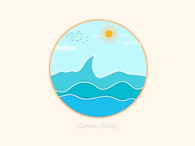 Summer Feeling vector illustration sunrise sunny sun wave flat design vector art vector minimal illustrator illustration summer party summertime summer