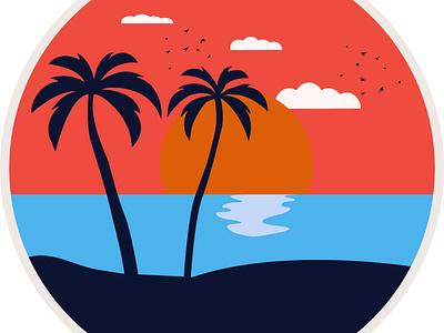 Sunset sunset logo sunset artwork art beautiful vector illustration minimal vector art vector design illustration illustrator