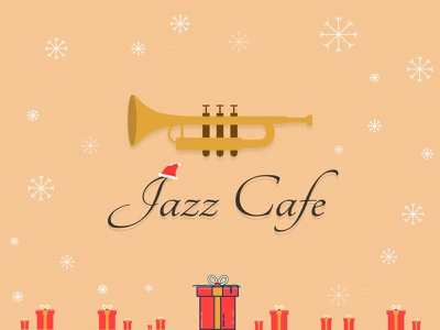 Jazz design in Christmas theme jazz theme ba2design holiday trumpet hat winter new year santa claus christmas gift christmas tree christmas logotype typography icon branding mark logo vector design illustration