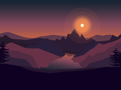 Sunset sunny day sunny mountain nature graphic sunset landscape illustration landscape design landscape background ba2desin art beautiful vector art vector illustration illustrator vector illustration design