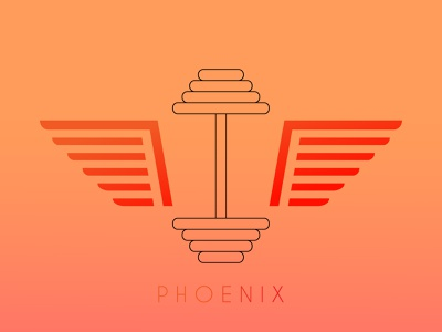 Phoenix & dumbell design vector art identity branding design phoenix logo phoenix birds branding dumbell logotype typography vector illustration logo mark illustrator vector illustration design