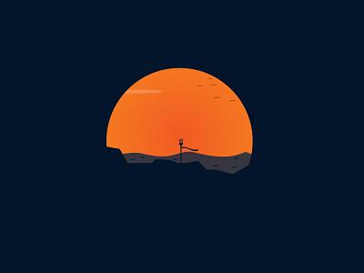 Trident flat identity sword web spear trident poseidon landscape illustration landscape design landscape branding logo vector art beautiful vector illustration illustrator illustration design