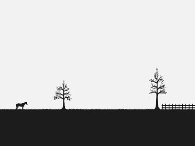 Alone nature nature illustration one color landscape illustration landscape design landscape farm horse art mark artwork vector art beautiful vector illustration illustrator vector design illustration