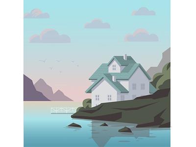 landscape popular ai landscape minimal trandy 2021 illustration graphic design flat illustration vector flat