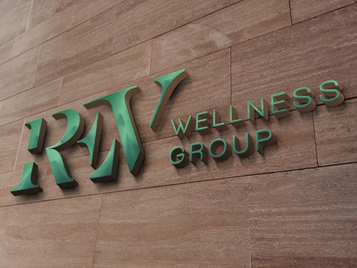 REV Wellness Group Wall Sign Mockup logo design vector typography stationary logo design branding