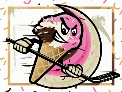 Neapolitans Hockey Logo ice cream cone ice cream illustration hockey logo hockey badge