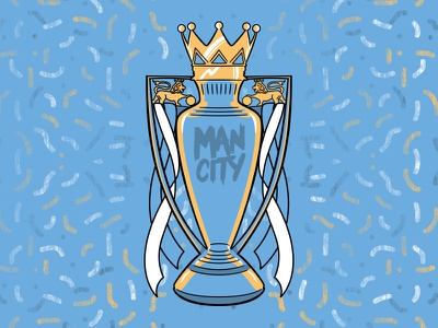 Man City Champions Soccer-Themed Badge trophy champions mcfc man city badge soccer badge