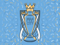 Man City Champions Soccer-Themed Badge