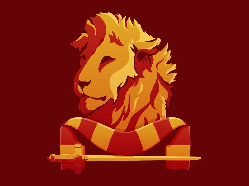 Gryffindor House Soccer-Themed Badge hogwarts gryffindor harry potter illustration soccer badge badge