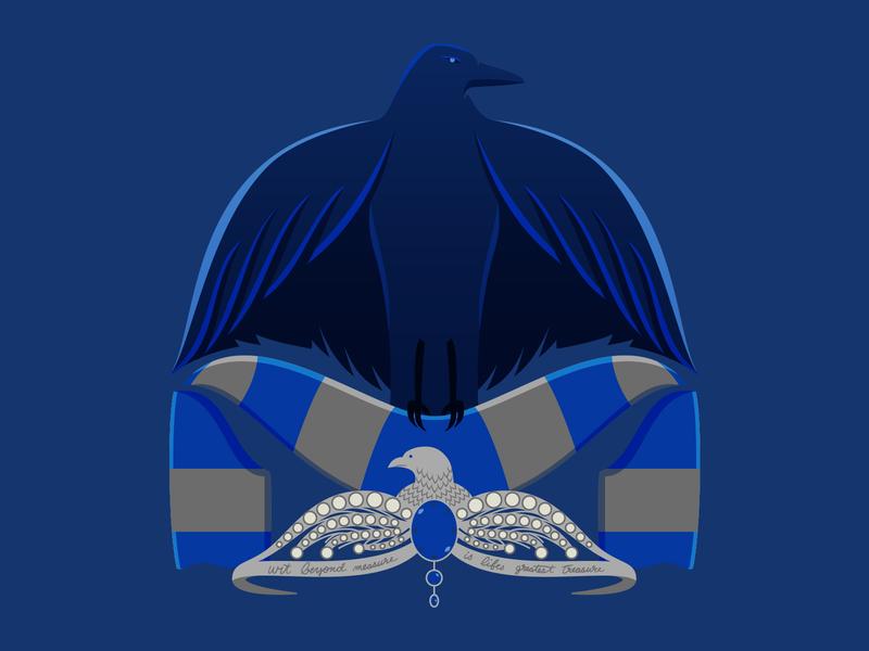 Ravenclaw House Soccer-Themed Badge ravenclaw hogwarts harry potter illustration soccer badge badge