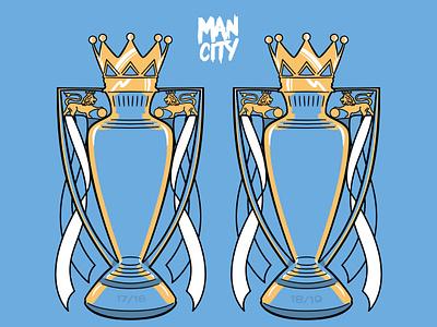 Back 2 Back Man City Trophies trophy championship champion premier league soccer illustraion man city