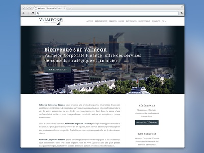 Valmeon home page screen bank finance strategy services