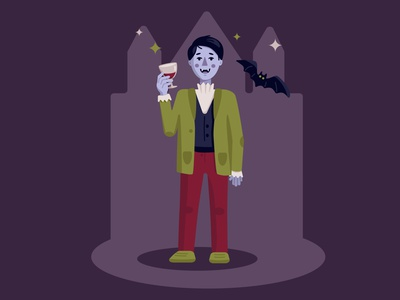 funny vampire flat vector illustraion halloween vampire bat