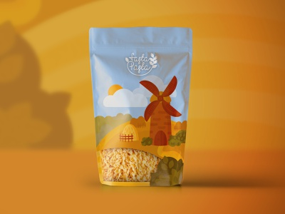 pasta packaging vector flat illustraion wheat mill package pasta