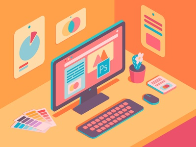 isometric computer design art isometry computer vector flat illustraion