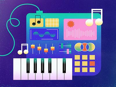 music drum-machine beat design flat vector art illustraion music