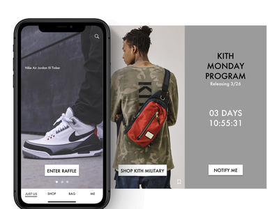 KITH Mobile Design - Hero Carousel new york streetwear shopping app flinto omnichannel commerce branding fashion ux ui retail design app