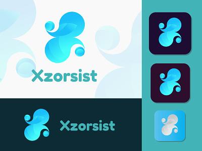 X Logo concept for xzorsist x logo x letter logo vector professional logo designer modern logo logo designer letter logo illustrator icon graphic design gradient logo design branding design branding brand identity