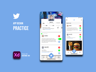 Practica de Diseño App twitter tecnologia adobe xd product design diseño ux diseño ui diseño web diseñografico