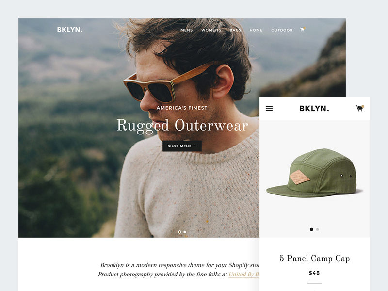 New theme — Brooklyn ecommerce template theme store apparel minimal typography