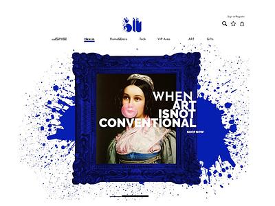 BLU gallery web design splash blue different logo identity gallery web design