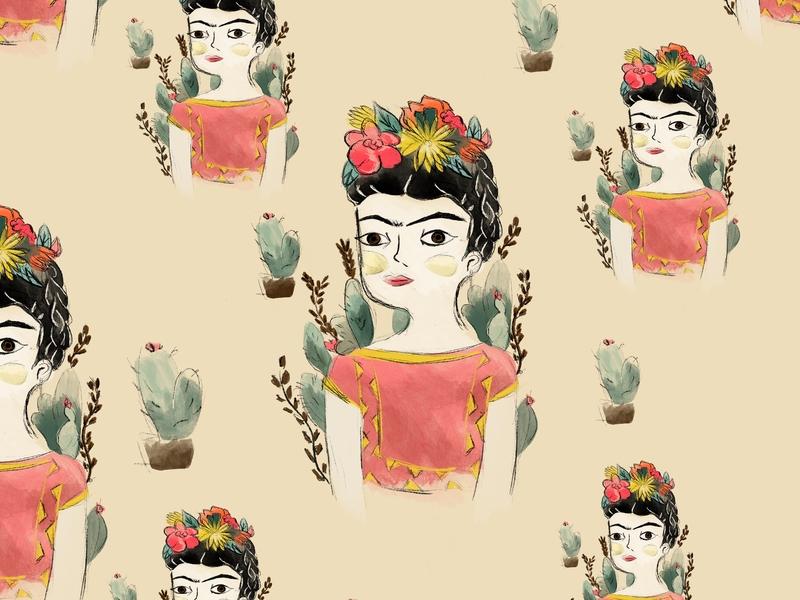 Frida Kahlo pattern design pattern art illustration fridakahlo