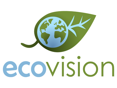 ecovision logo 2 green blue eco leaf earth