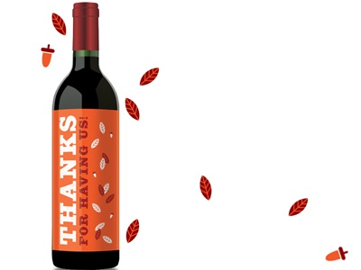 Thanksgiving wine wrap label
