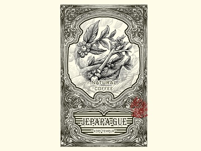 NATURAL COFFEE brand identity ornament detail illustraion brand design classic vintage retro label design labeldesign