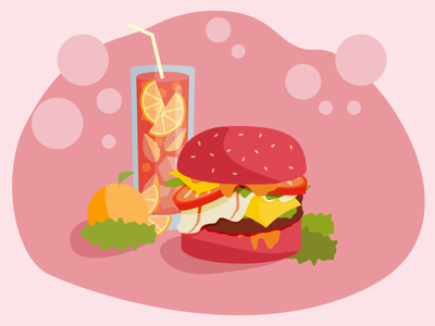 Homage to Burger Lunches homage junk pink fast food fruit tangerine aperoli burger food design dribbble dribbbleweeklywarmup illustration adobe illustrator