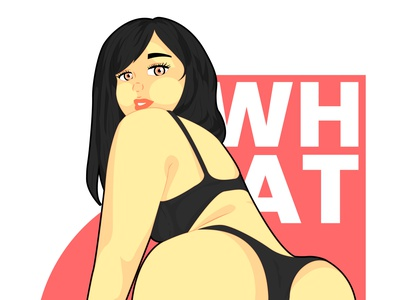 WHAT pinup sexy girl art vector sketch illustration drawing