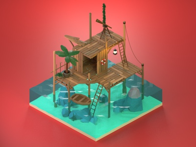 My Seashack 3dillustration stylized lowpolyart lowpoly isometric blender3d blender 3dmodeling 3drender 3dart design illustration