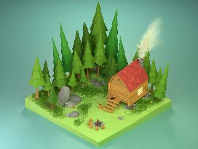 Little Log Cabin in the forest :) cabin stylized lowpolyart lowpoly isometric illustration blender3d blender 3drender 3dmodeling 3dillustration 3dart